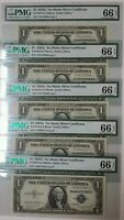 5   1935G $1 SILVER CERTIFICATES NO MOTTO. FR.1616  FIVE NOTES GRADED PMG 66EPQ