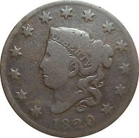 1820 CORONET HEAD LARGE CENT   SMALL DATE N 2 R 2   ITEM 85PH
