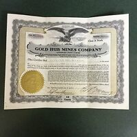 GOLD HUB MINES COMPANY STOCK CERTIFICATE FROM 1939