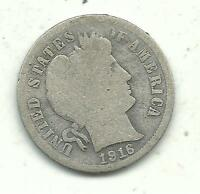 VINTAGE GOOD CONDITION BETTER DATE 1916 S BARBER SILVER DIME COIN JU001