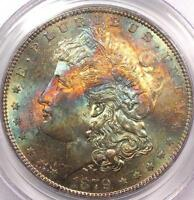 1879-S MORGAN SILVER DOLLAR PCGS MINT STATE 62 - MONSTER RAINBOW TONE COIN