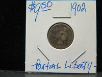 1902 10C BARBER DIME GOOD COIN. PARTIAL LIBERTY. STORE AUCTION 0716