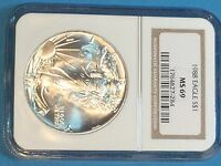 1988 AMERICAN SILVER EAGLE NGC MS69   BROWN LABEL