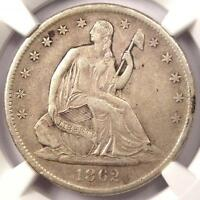 1862 S SEATED LIBERTY HALF DOLLAR 50C   CERTIFIED NGC VF35    CIVIL WAR DATE