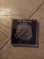 1969 NEW ZEALAND ONE DOLLAR $1 COIN COMMEMORATING J COOK BI CENTENARY 1769 1969