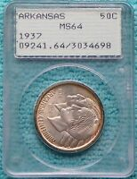 1937 MINT STATE 64 ARKANSAS CENTENNIAL COMMEMORATIVE SILVER UNCIRCULATED 5,505 MINTED 2
