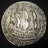 SILVER 1790 COLONIAL OLD DUTCH NEW YORK SHIP SHILLING ZEELAND MINT 3 MASTED SHIP