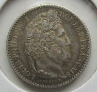 FRANCE SECOND KINGDOM 1846 A SILVER 25 CENTIMES 25C LOUIS PHILIPPE PARIS MINT