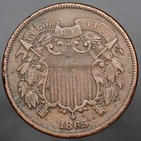 1865 TWO CENT PIECE - SHARP DETAILS FULL MOTTO DOUBLEJCOINS 444A3
