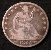 1855 O SEATED LIBERTY HALF DOLLAR  BETTER GRADE  CLEAR DATE & MINT MARK