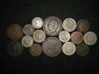 LOT OF 16 OLD 1800'S EUROPEAN COINS GERMANY BRITAIN ITALY SPAIN SWITZERLAND