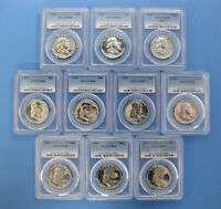 1954 THRU 1963 PROOF FRANKLIN HALF DOLLAR PCGS PR 68 10PC SET