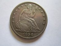 1856 S 50 CENT  KEY DATE LIBERTY SEATED HALF DOLLAR AU TONED LOW MINTAGE