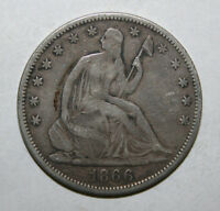 1866 SEATED LIBERTY SILVER HALF DOLLAR  J80