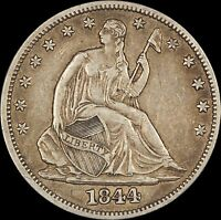 1844 SEATED LIBERTY HALF DOLLAR   NICE DETAIL    USA