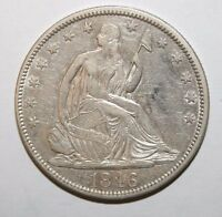 1846 TALL DATE SEATED SILVER HALF DOLLAR L33