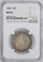 1880 LIBERTY SEATED 50C NGC MS 67