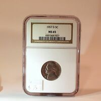 1957 D JEFFERSON NICKEL 5C MS 65 NGC CERTIFIED MINT STATE UNCIRCULATED