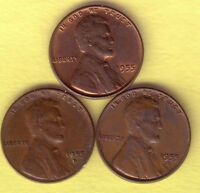 LOT OF 3 LINCOLN CENTS 1955P,1955D,1955S