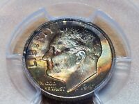 1949 S ROOSEVELT SILVER DIME   PCGS MS65   RAINBOW TONED COLORFUL COIN