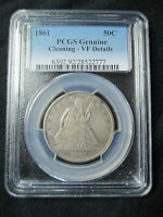 1861 SEATED LIBERTY HALF DOLLAR   PCGS GENUINE VF DETAILS   CIVIL WAR DATE