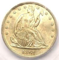 1861 SEATED LIBERTY HALF DOLLAR 50C   CERTIFIED ICG MS61 BU UNC   $700 VALUE