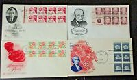 US SET OF 4 FIRST DAY COVERS WITH BOOKLET PANES CACHET,  LOOK
