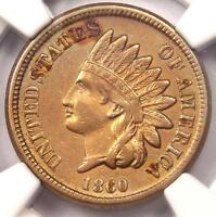 1860 INDIAN CENT 1C   NGC AU DETAILS    EARLY DATE CERTIFIED PENNY
