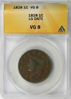 1828 LG DATE 1C LARGE CENT LIBERTY HEAD ANACS VG8