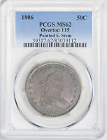 1806 DRAPED BUST 50C PCGS MINT STATE 62