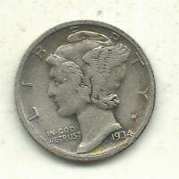 A VINTAGE HIGHER GRADE 1934 D MERCURY SILVER DIME OLD US COIN SEP649