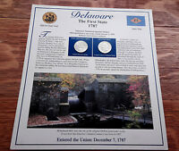 DELAWARE THE FIRST STATE 1787 QUARTER DOLLARS STAMPS ON BACK 1999 UNCIRCULATED