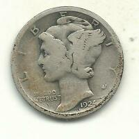A NICE VINTAGE 1924 P MERCURY SILVER DIME OLD US COIN SEP701