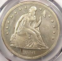 1846 SEATED LIBERTY SILVER DOLLAR $1   PCGS AU DETAILS    EARLY DATE COIN