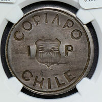 NG0305 CHILE 1865  PESO SILVER  NGC AU55 COPIAPO RESTRIKE  COMBINE SHIPPING