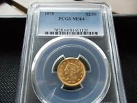 1878 LIBERTY HEAD  $2.50  GOLD QUARTER EAGLE  PCGS MS 64  NICE & ATTRACTIVE