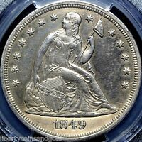1849 SEATED LIBERTY SILVER DOLLAR PCGS GRADED AU DETAILS