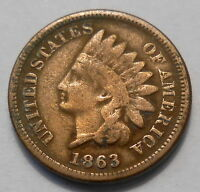 1863 UNITED STATES SMALL CENT VG EARLY INDIAN HEAD  U.S.A. OAK WREATH COIN