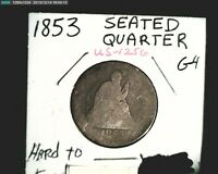 1853 US SEATED LIBERTY  AVERAGE CIR GRADE .18084 OZ SILVER COIN US 1256