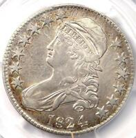 1824/4 CAPPED BUST HALF DOLLAR 50C O 110   PCGS XF DETAILS EF    COIN