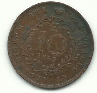 VERY NICE BETTER DATE HIGHER GRADE 1865 PORTUGAL AZORES 10 REIS COIN FEB909