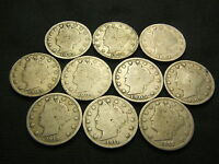 1899, 1900,1902,1903,1904,1905,1909, 1910, 1911, 1912-D LIBERTY V NICKEL BARBER