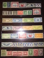 GREAT MINT NEVER USED, COLLECTION/LOT-VINTAGE US BOB AIRMAIL/REVENUE STAMPS-$