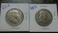 FRANKLIN SILVER HALF DOLLARS CIRCULATED 1963 D & 1948 D