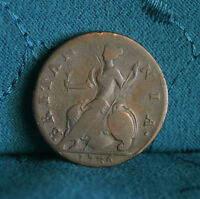 GREAT BRITAIN 1/2 PENNY 1736 COPPER WORLD COIN UK SEATED HALF CENT GB ENGLAND