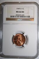 1949 D LINCOLN WHEAT CENT MS 66 RD NGC 009