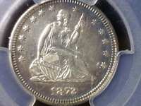 1872 PCGS AU SEATED LIBERTY SILVER QUARTER   SUPER CERTIFIED COIN