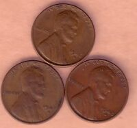 LOT OF 3 EARLY LINCOLN CENTS 1946D 1947D 1948D.
