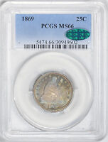 1869 LIBERTY SEATED 25C PCGS MS 66