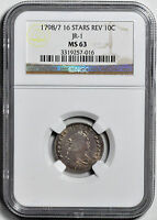 1798/7 DRAPED BUST 10C NGC MINT STATE 63